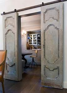 modern and rustic interior sliding barn door designs With barn door style french doors