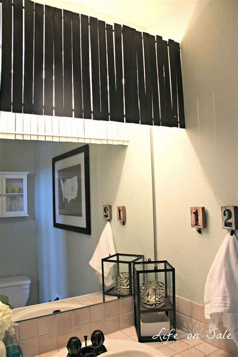 Bathroom Light Cover by Diy Bathroom Makeover Stir Sticks Valance Ideas And