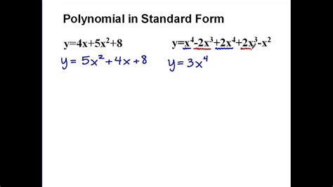 Polynomials In Standard Form Youtube