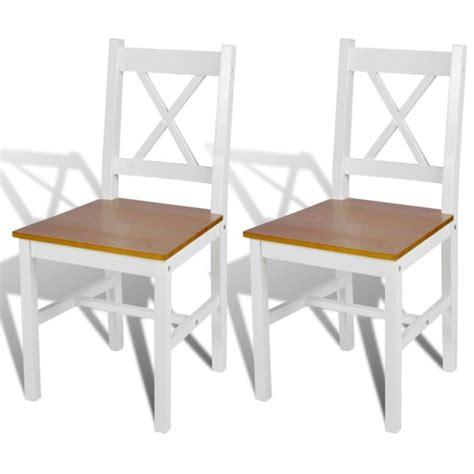 chaises salle à manger en bois 2 pcs chaise salle à manger en bois blanc et naturel achat vente chaise cdiscount