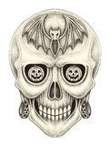Art Skull Pumpkin Halloween Day Stock Illustration