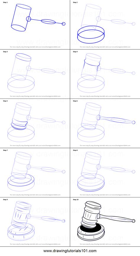 draw judges gavel printable step  step drawing