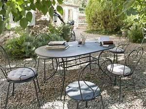 Table Pour Terrasse : mobilier jardin fer chaise de jardin en bois maisonjoffrois ~ Teatrodelosmanantiales.com Idées de Décoration
