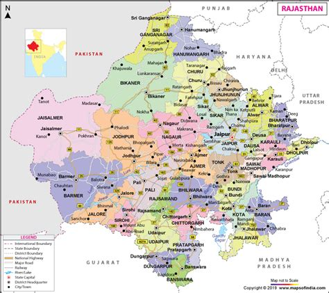 rajasthan map state information districts  facts