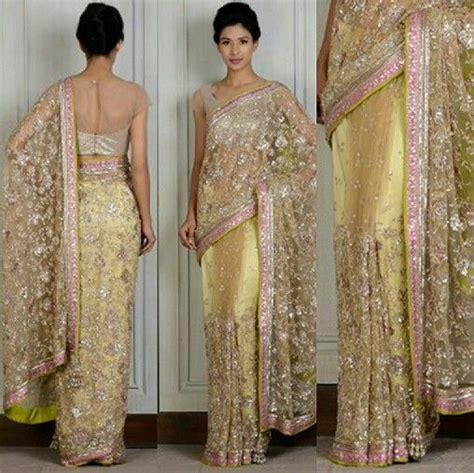 Harga Sari Gold gold net embroidered sari manish malhotra saree 205 ndia