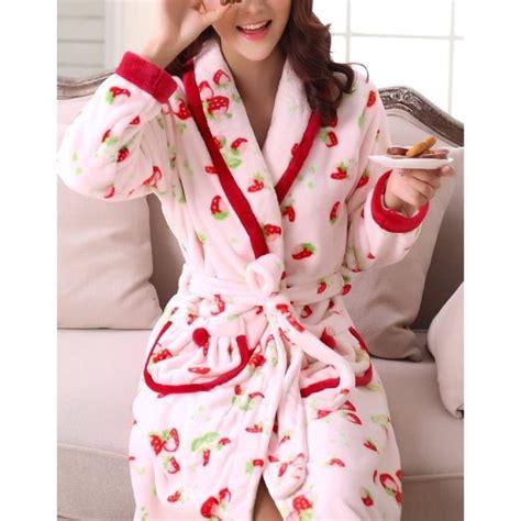 robe de chambre longue femme 130 cm peignoir fantaisie fraises femme polaire achat