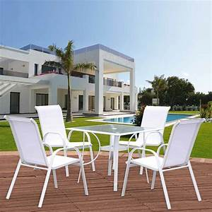 Salon De Jardin Blanc. salon de jardin en aluminium blanc brin d 39 ...