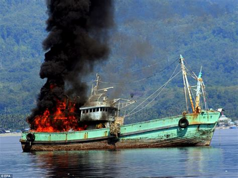 Ship Owner Indonesia by Indonesian Navy Blows Up Illegal Foreign Fishing Vessels