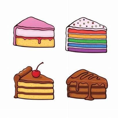 Cake Cartoon Cakes Piece Clip Contour Chocolate