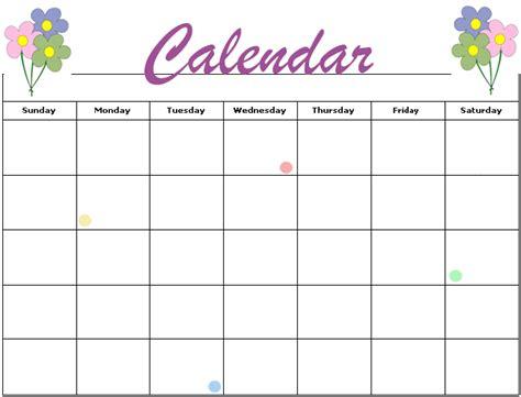 Blank Activity Calendar Template by 14 Blank Activity Calendar Template Images Printable