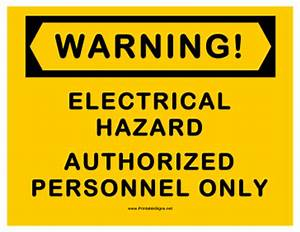 Printable Warning Electrical Hazard Sign