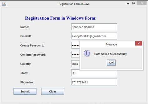 best java template system registration form in windows form using swing in java