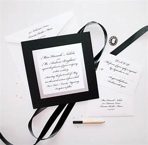 elegant black and white wedding invitations custom With black and white handmade wedding invitations