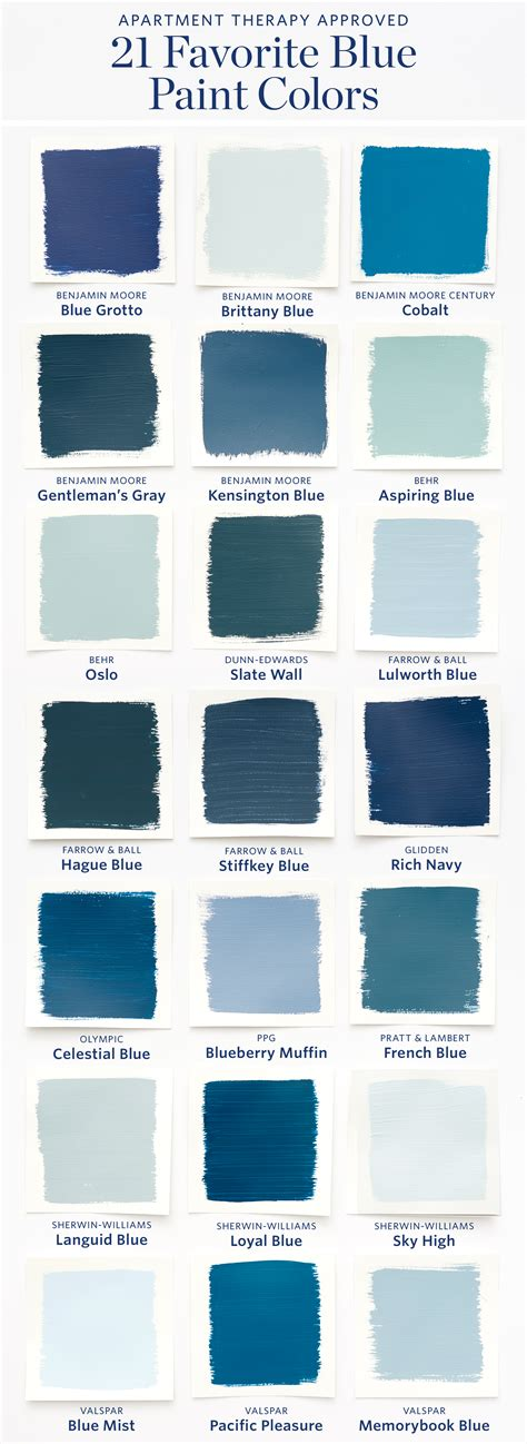 color sheet the 21 most blue paint colors
