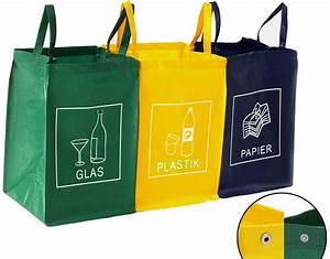 Mülleimer Mülltrennung 3 Fach : recycling m llsortiertaschen glas plastik papier m lleimer m lltrenner tasche ebay ~ Markanthonyermac.com Haus und Dekorationen