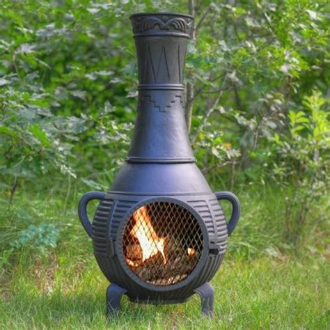 Cheap Pits And Chimineas by The Blue Rooster Pine Style Cast Aluminum Chiminea Gold