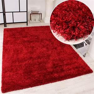tapis shaggy haut poil long poil legerement mele en rouge With tapis poil haut