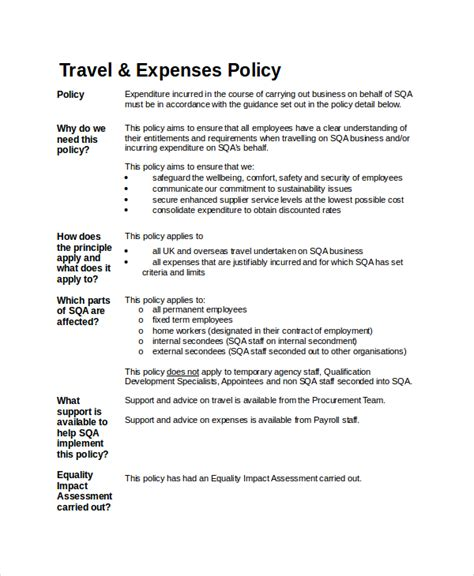 Company Travel Policy Template by Travel Policy Template 7 Free Word Pdf Document