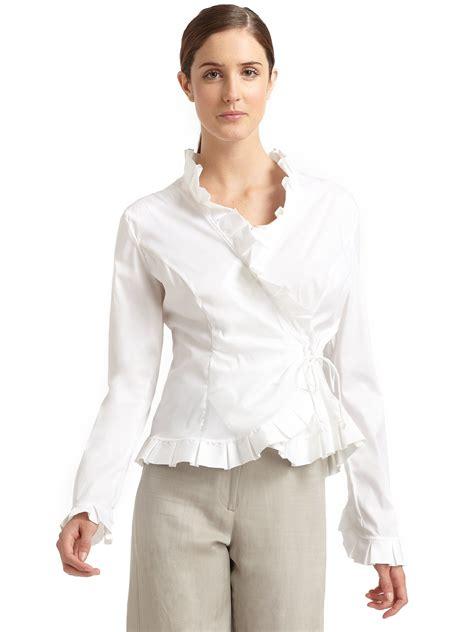ruffled white blouse giorgio armani ruffled wrap blouse in white lyst