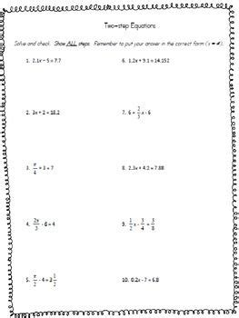 solving two step equations worksheet teaching and math two step equations decimals