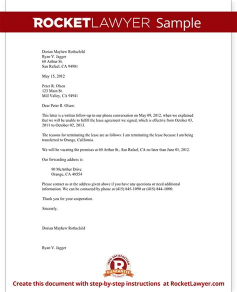 lease termination letter form tenant notice  vacate letter
