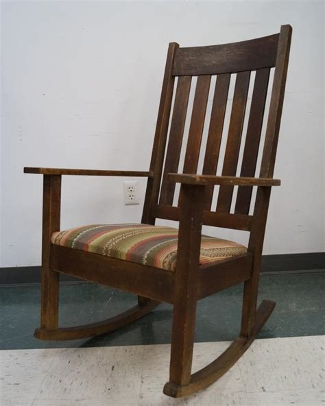 Stickley Upholstered Rocking Chair by Antique Stickley Limbert Style Oak Rocking Chair With Uphols