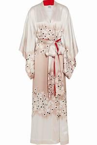 carine gilson sakura floral print silk satin kimono robe With robe de chambre soie