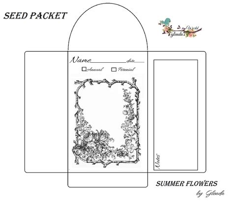 seed packet template glenda s world seed envelope packets