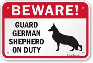 Beware Dog Sign, Guard Dog German Shepherd Sign, Guard Dog ...