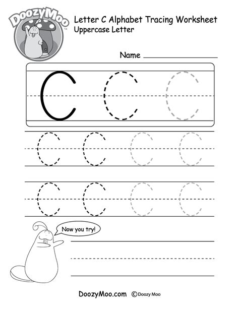 Uppercase Letter C Tracing Worksheet  Doozy Moo