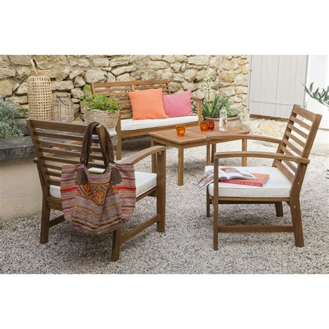 chaises leroy merlin salon bas de jardin acacia bois marron 1 table 1 banc 2