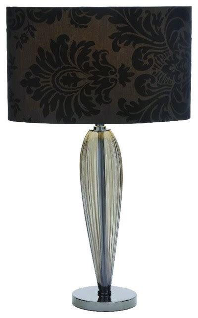 glass metal table lamp tall sleek black gray floral home