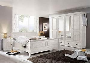 Schlafzimmer Set 4teilig Kiefer Massiv Wei Lasiert