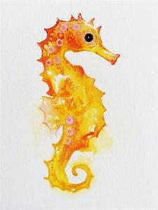 Watercolor Seahorse Art Original Watercolor Golden Seahorse