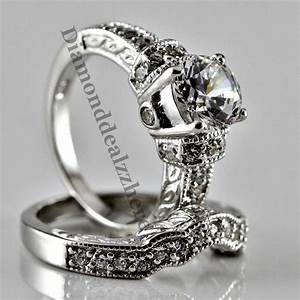 sterling silver round cut lab diamond engagement ring With womens diamond wedding ring sets