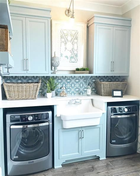 diy kitchen cabinets laundry room features blue gray cabinets and a farmhouse 4241