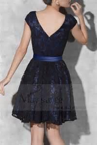 robe bleu mariage robe de soirée courte dentelle ceinture bleu