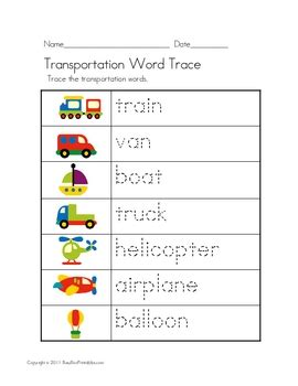 transportation theme unit worksheets file folder