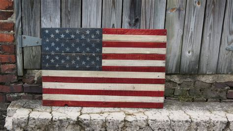 large united states flag hand painted  reclaimed pallet