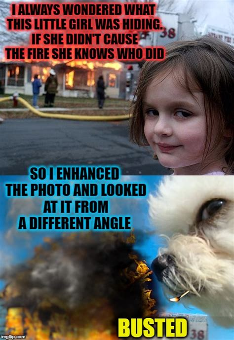 Fire Girl Meme - quot disaster dog quot thought we agreed no cats dog week imgflip