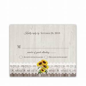 rustic sunflower wedding rsvp response cards With wedding cards with sunflowers