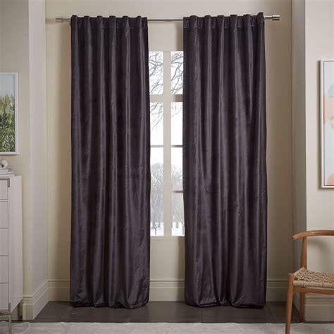 cotton luster velvet curtain slate west elm