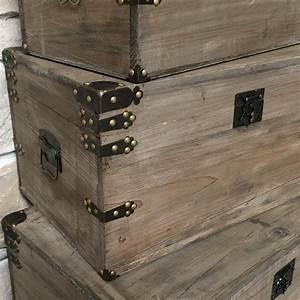 Malle En Bois : grand coffre de style ancien vieille malle en bois malle ~ Melissatoandfro.com Idées de Décoration