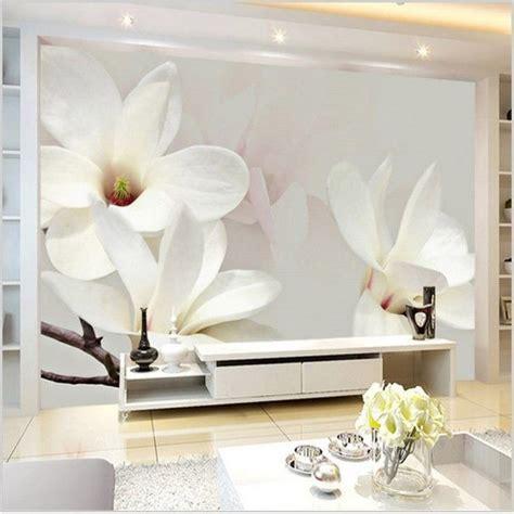 modern wall mural white magnolia lily wallpaper