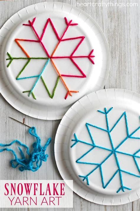 paper plate snowflake yarn art easy crafts  kids