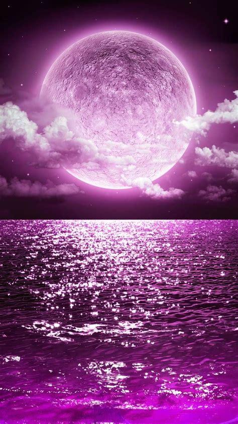 aesthetic purple moon wallpaper