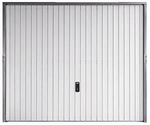 Porte de garage basculante en acier blanc galvanise 2x2 for Porte garage basculante brico depot