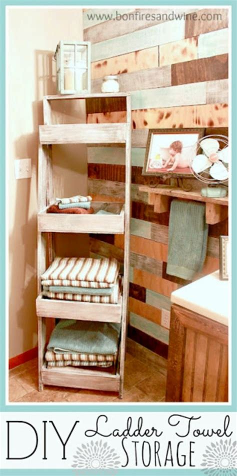 bonfires  wine diy ladder towel storage
