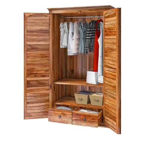 Wood Armoire Closet by Livingston Solid Wood Shutter Door Rustic Armoire Closet