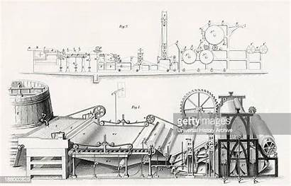 Paper Machine Making Century 19th Drawing Industrial